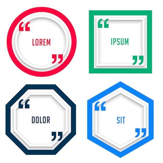 太線スタイルの4つの幾何学的引用符テンプレート 無料ベクター