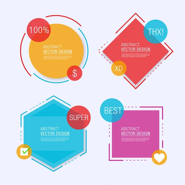 Four geometrical label templates Free Vector