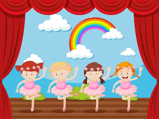Four girls dancing on stage Free Vector