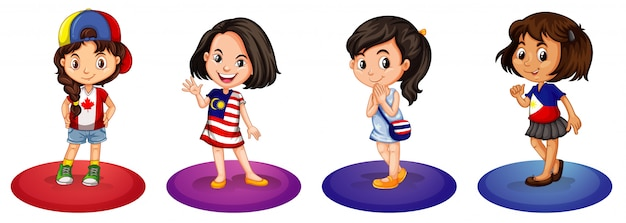 Four girls from different countries Free Vector