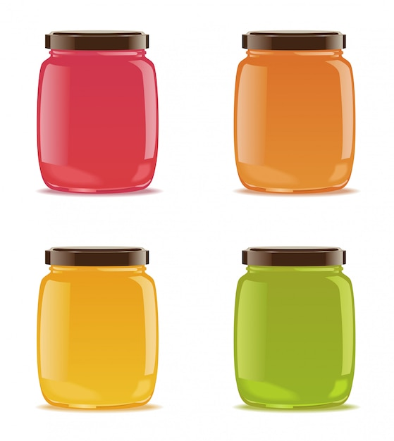 Four glass jars with jam or baby puree. Premium Vector