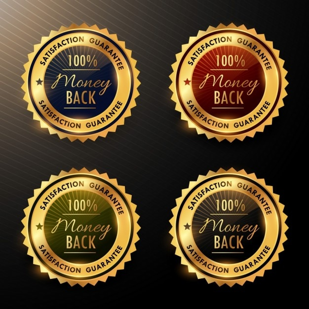 Four gold warranty badges Free Vector