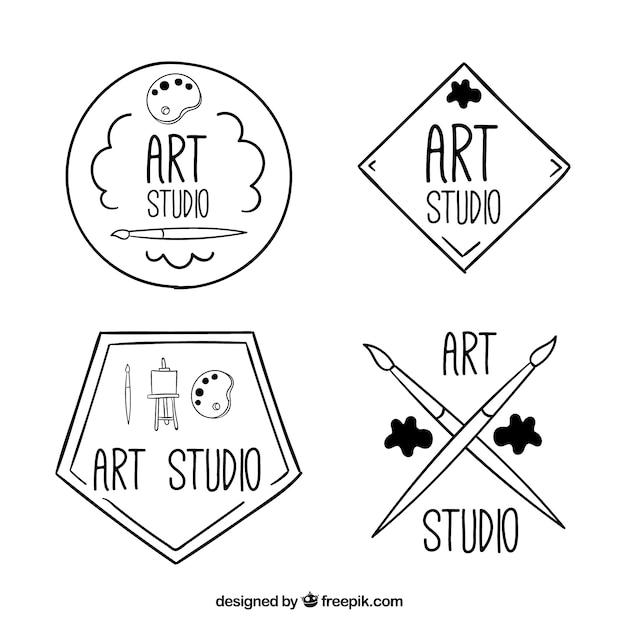 Four hand drawn art logos Free Vector