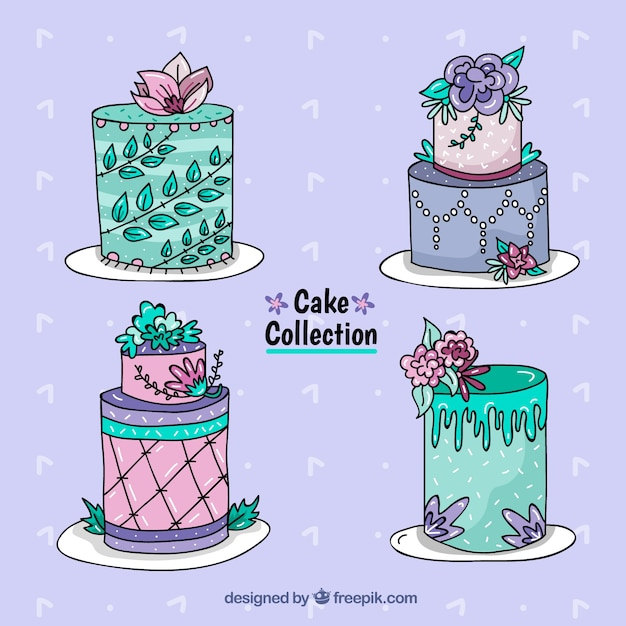 Four hand drawn birthday cakes Vector Free Download