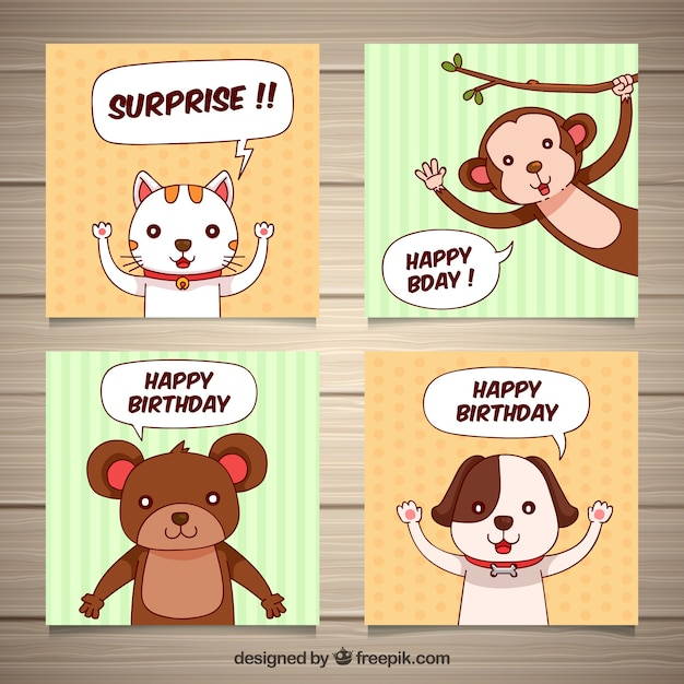Four Hand Drawn Birthday Cards With Animals Vector Free Download