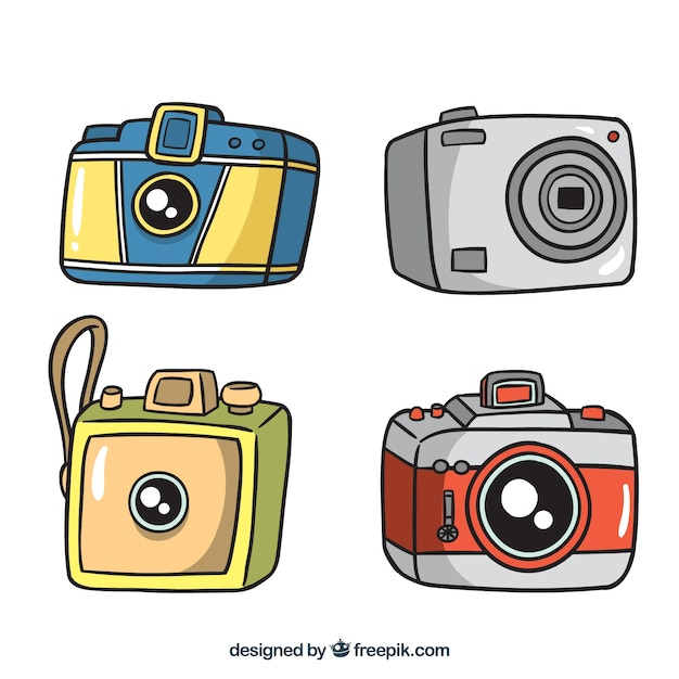 Four hand drawn cameras