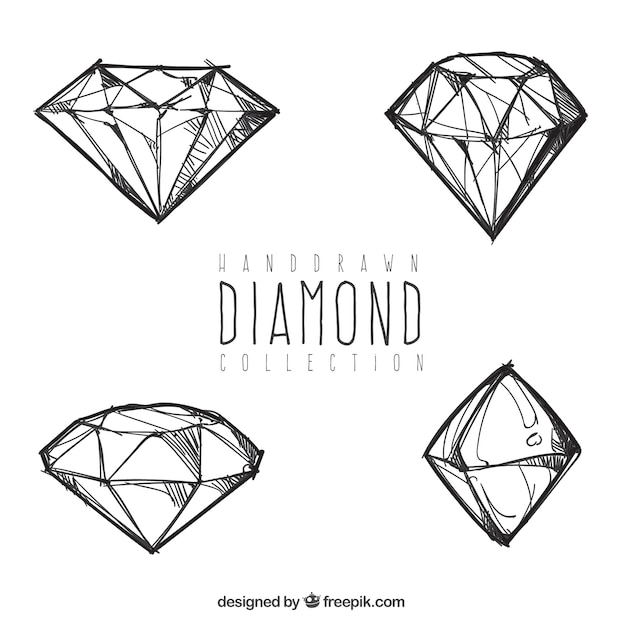 Four hand drawn diamonds Free Vector