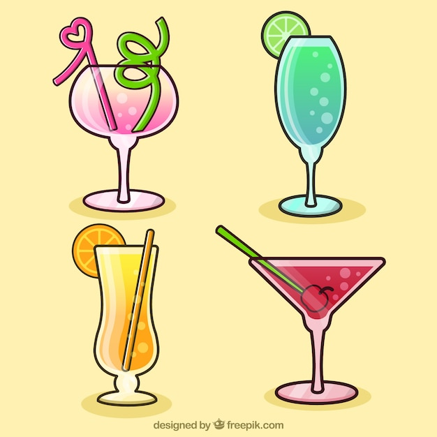 Four hand-drawn drinks