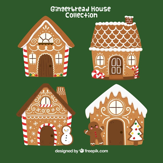 Four hand drawn gingerbread houses Free Vector