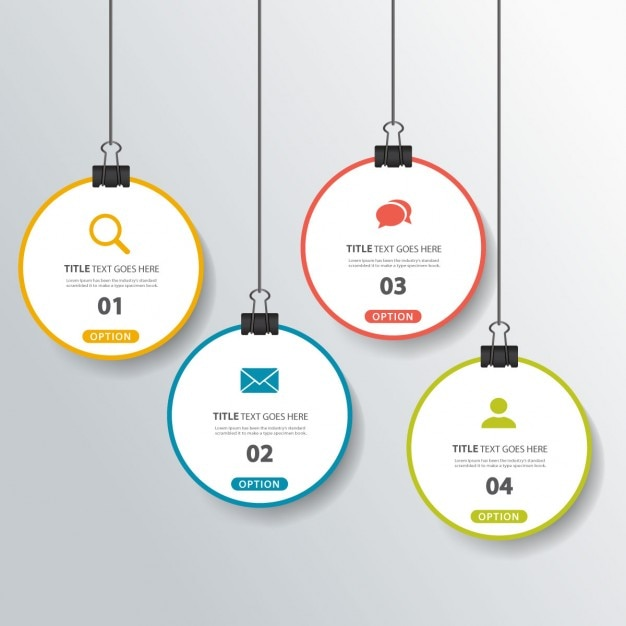 Four hanging options for infographics Free Vector