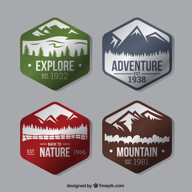 Four hexagonal badges about the adventure in\ the forest