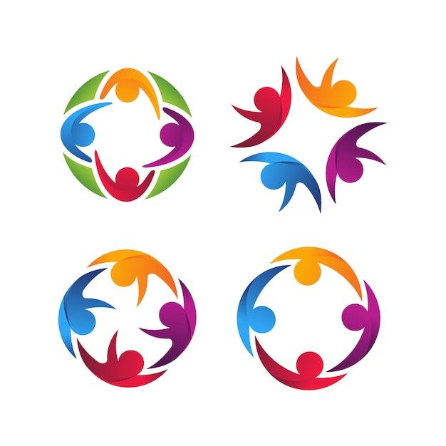 Четыре человеческих единства красочный логотип вектор шаблон Premium векторы