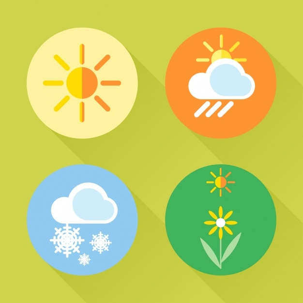 Четыре иконки о сезонах Бесплатные векторы