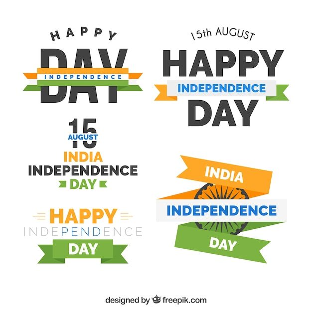 Four india independence day badges in retro style