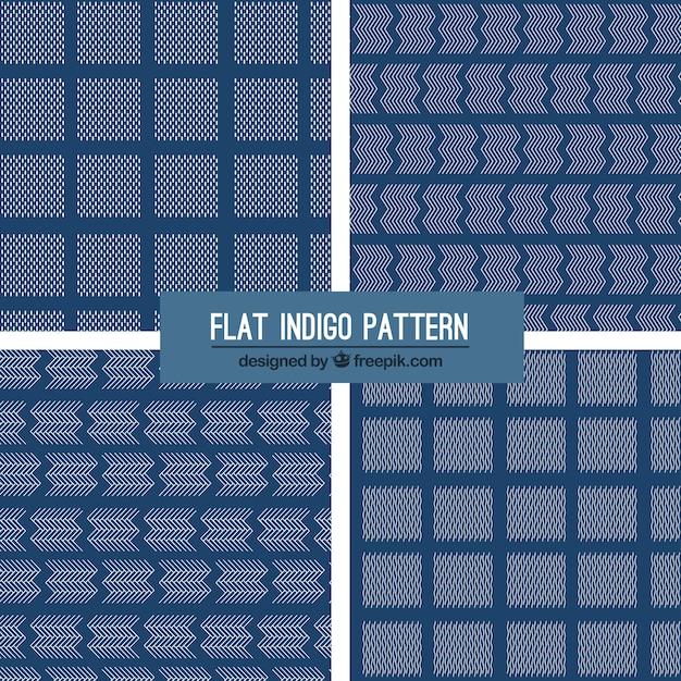 Four indigo patterns, flat style Free Vector
