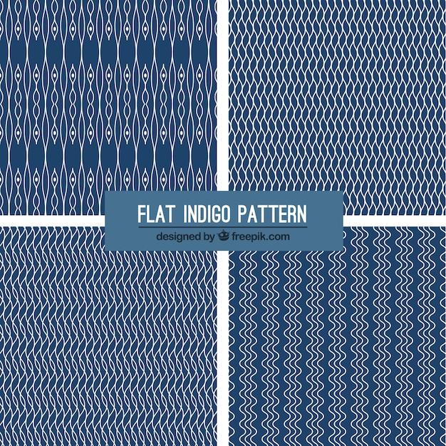 Four indigo patterns Free Vector