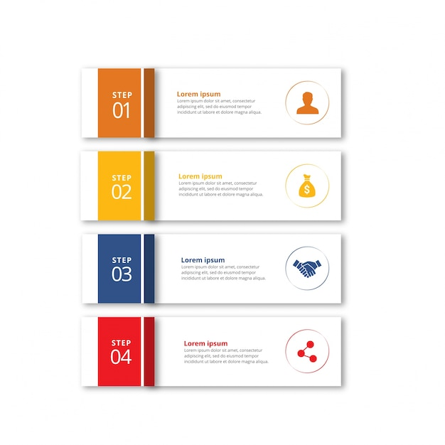 Four infographic banners with steps Free Vector