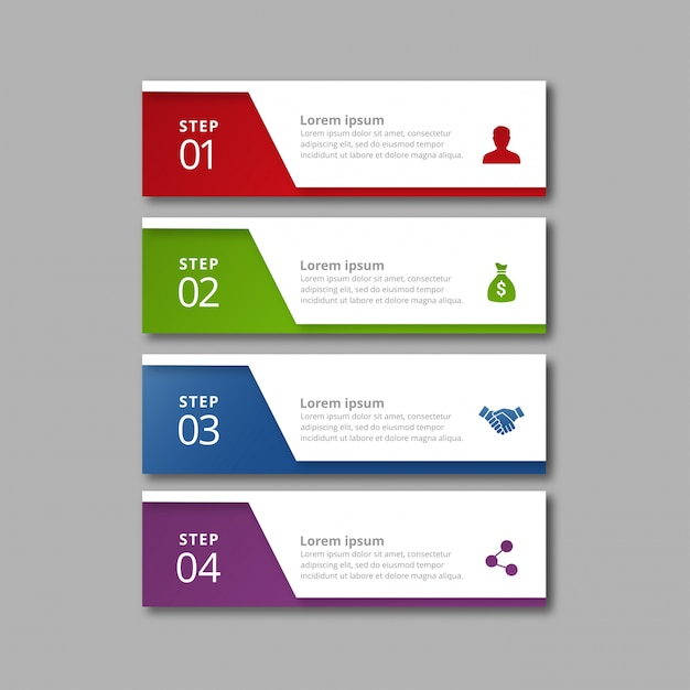 Four infographic banners Free Vector