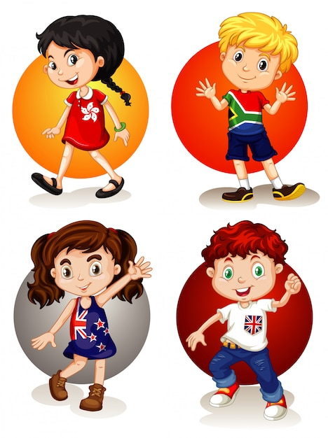 Four kids from different countries Free Vector