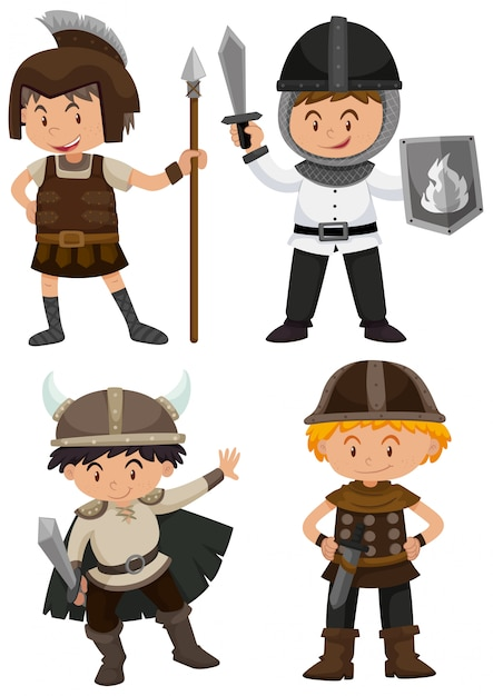 Four kids in warrior costume Free Vector