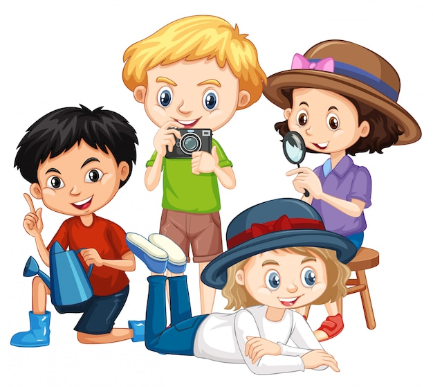 Four kids with camera and magnifying glass Free Vector
