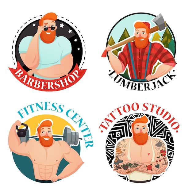 Четыре метки с брутальными мужскими иконами Бесплатные векторы