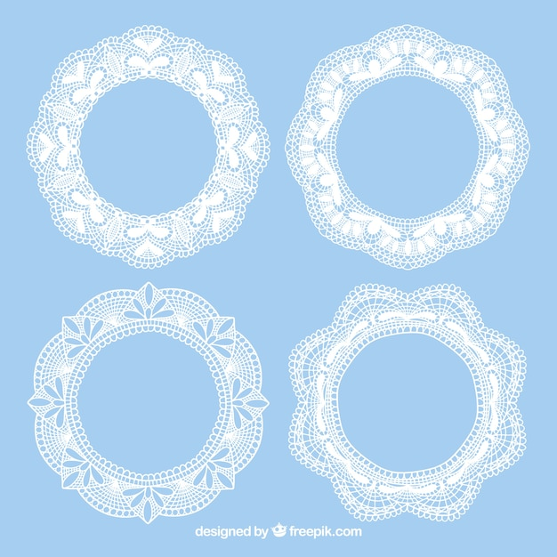 Four lace vintage frames Free Vector