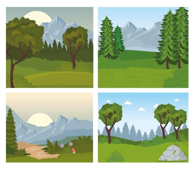 木々のある4つの風景シーン Premiumベクター