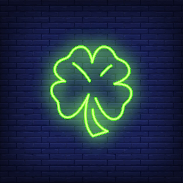 Four leaves clover neon sign element. fortune concept for night bright advertisement Free Vector