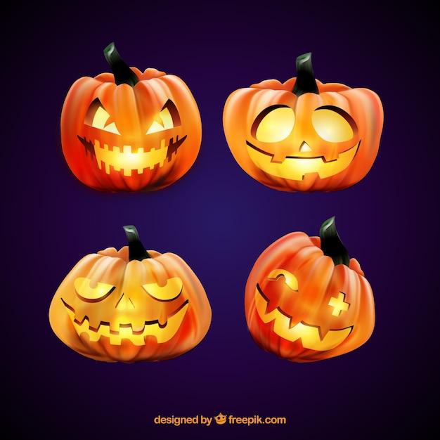 Four lighted halloween pumpkins Free Vector