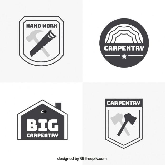Quattro loghi per carpenteria, in bianco e nero Vettore gratuito