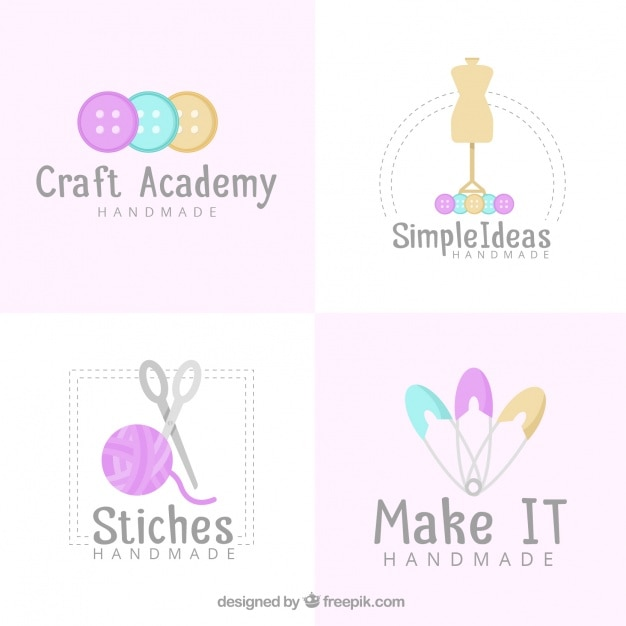 four logos for crafts vector free download