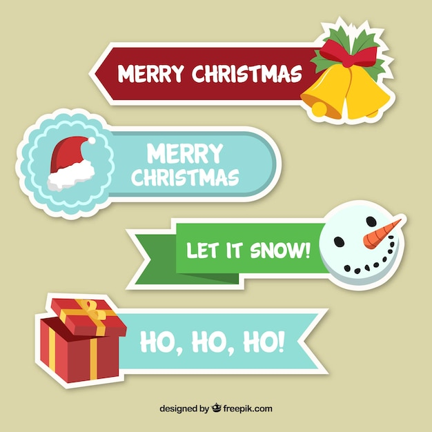 four merry christmas stickers free vector