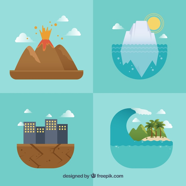 Four natural disaster designs Free Vector