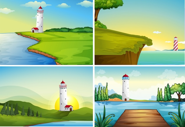 Four nature scenes with lighthouse by the ocean Premium Vector