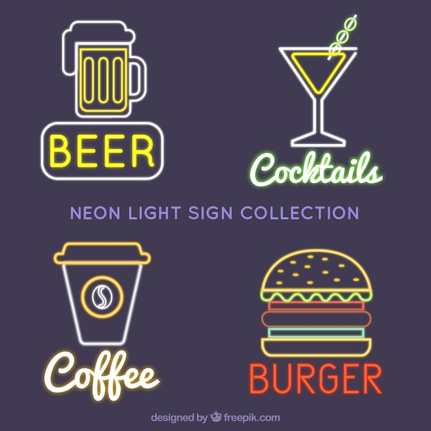 Four neon light signboards Free Vector