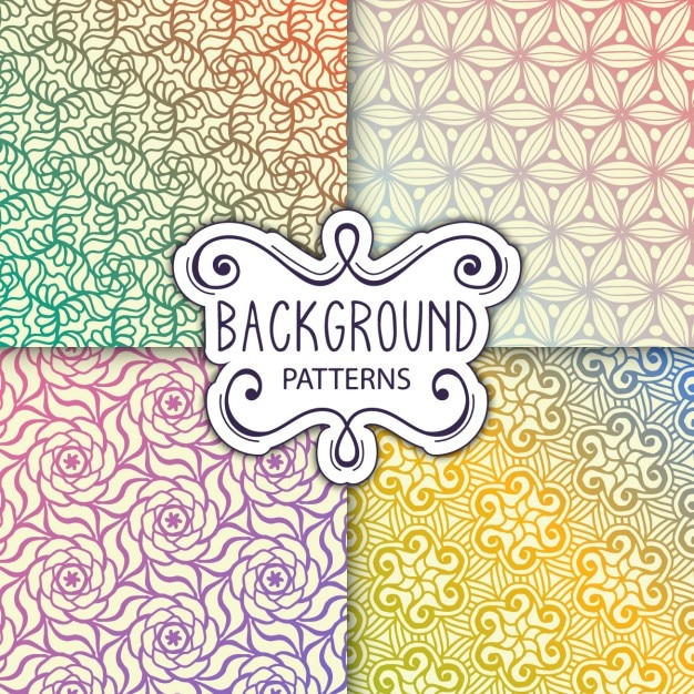 four nice backgrounds with patterns vector free download
