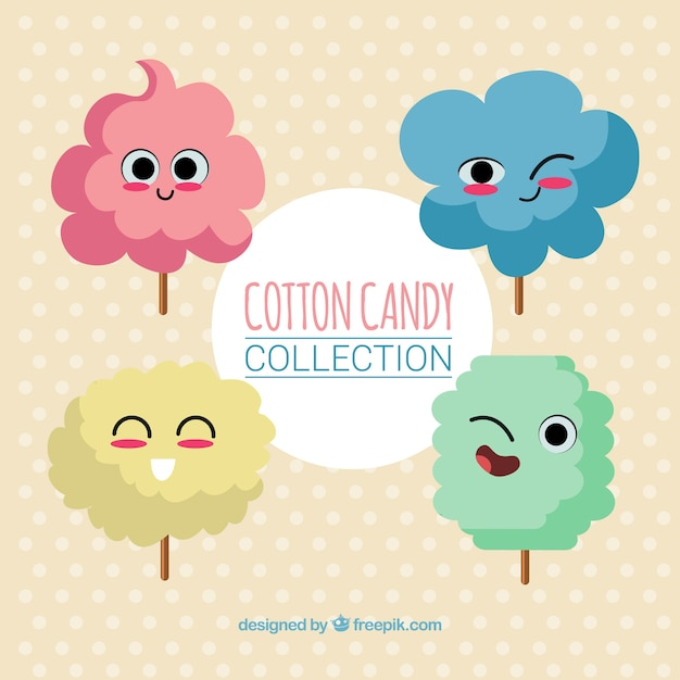 Four nice characters of cotton candy