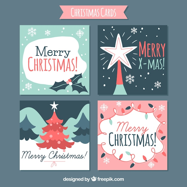Four nice christmas cards vector free download four nice christmas cards free vector m4hsunfo