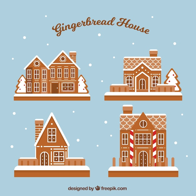 Four nice gingerbread houses on a blue background