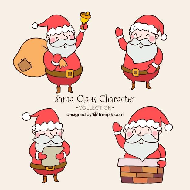 Four nice hand drawn santa claus