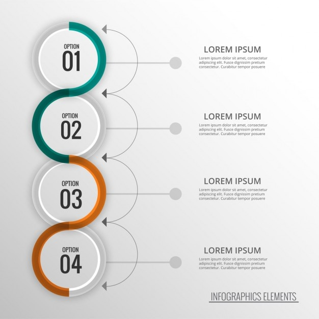 Four options as a list Free Vector