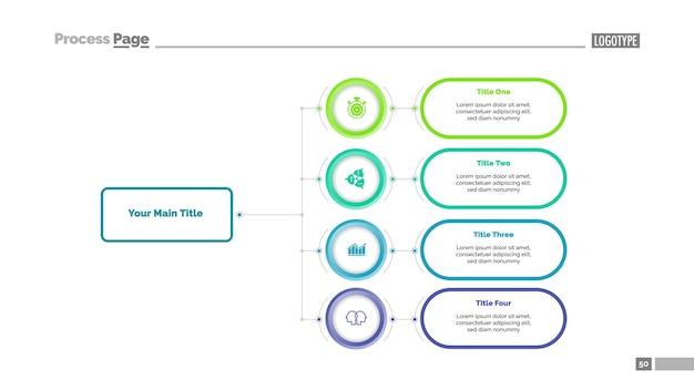 Шаблон с четырьмя вариантами блок-схемы Premium векторы