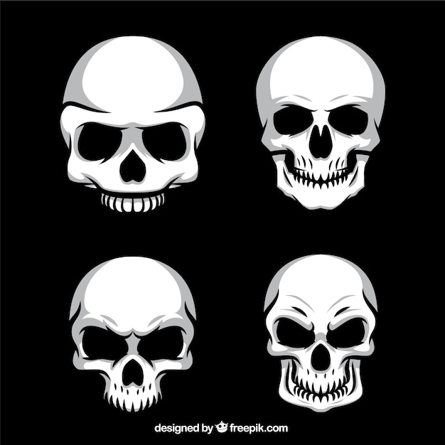 Four pack ghoulish skulls Free Vector