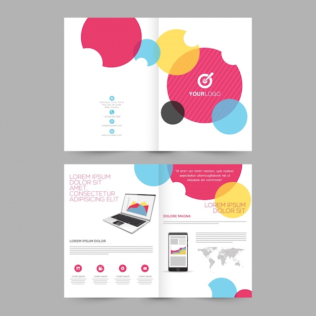 Four Pages Brochure Template Design With Illustration Of Laptop - Brochure template for pages