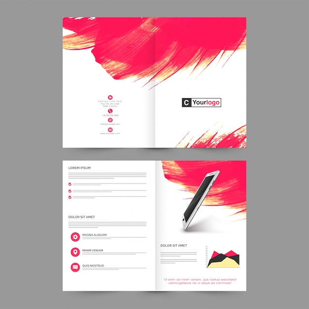 Four Pages Brochure Template Layout With Abstract Brush Strokes - Brochure template for pages