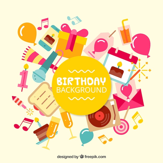 Four patterns for birthday Free Vector