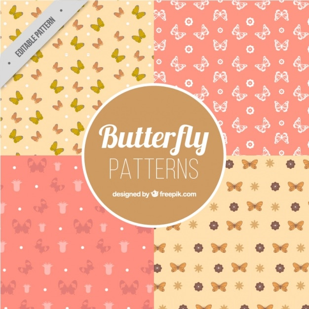Four patterns of butterflies in pastel colors Free Vector