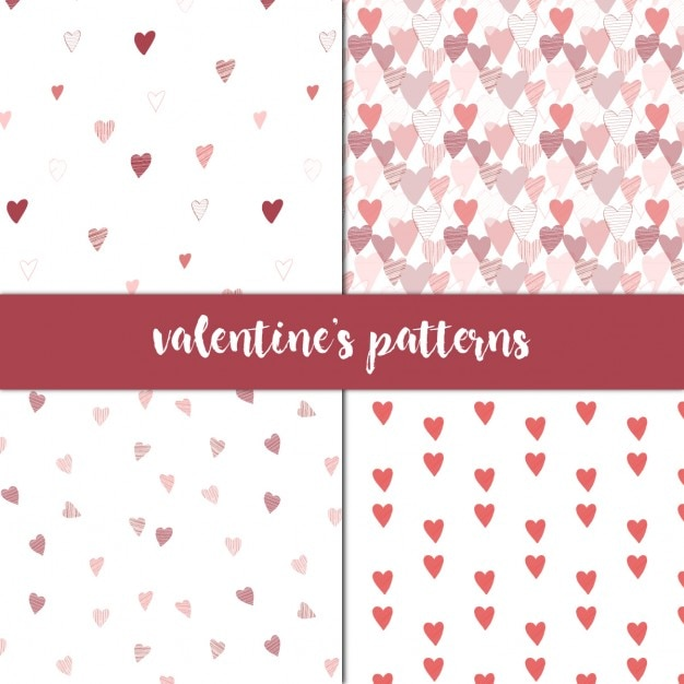 Four patterns for valentines Free Vector