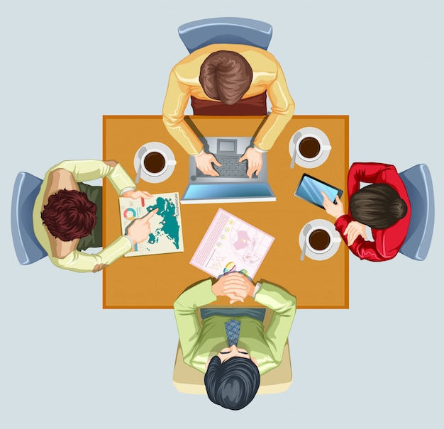 Four people having meeting at the table Free Vector